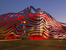 Petersen Automotive Museum exterior at night