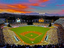 Dodger Stadium at sunset