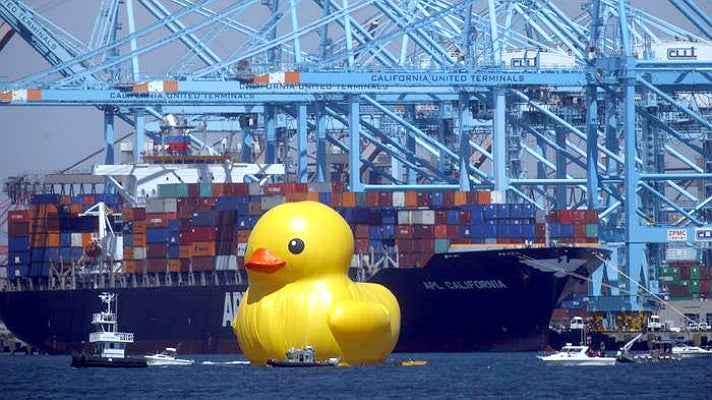 World's tallest rubber duck at the Port of Los Angeles