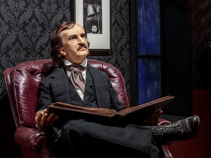 """Edgar Allan Poe sculpture in the Rain Room at """"Guillermo del Toro: At Home with Monsters,"""" LACMA"""