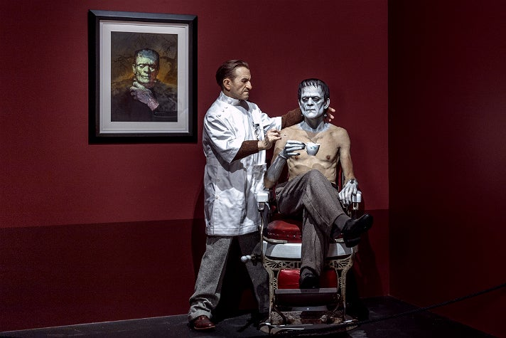 """Jack Pierce and Boris Karloff sculpture by Mike Hill at """"Guillermo del Toro: At Home with Monsters,"""" LACMA"""