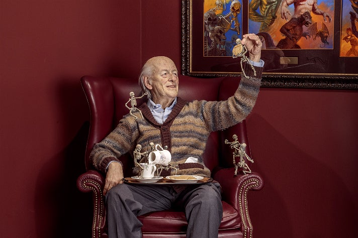 """Ray Harryhausen sculpture by Mike Hill at """"Guillermo del Toro: At Home with Monsters,"""" LACMA"""