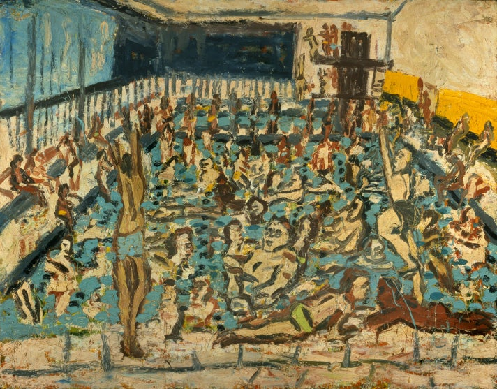 """Children's Swimming Pool, Autumn Afternoon,"" 1971, by Leon Kossoff at the Getty Center"