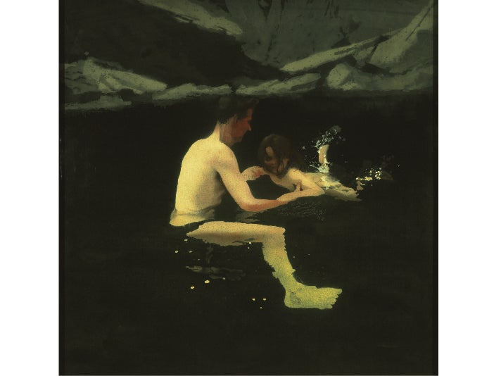"""Melanie and Me Swimming,"" 1978–79, Michael Andrews at the Getty Center"