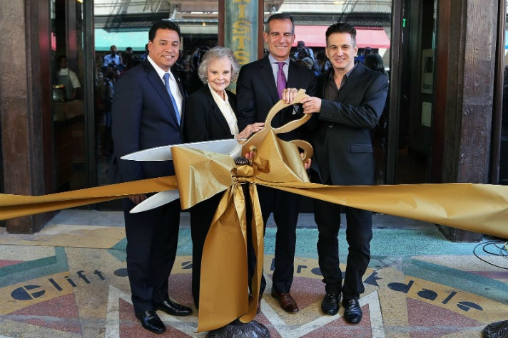 Councilman Jose Huizar, actress June Lockhart, Mayor Eric Garcetti, Andrew Meieran at the Clifton's ribbon cutting