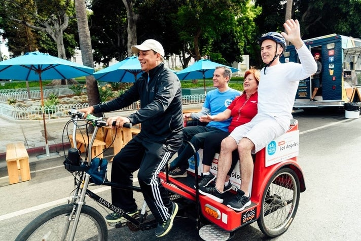 Riding the free pedicab at CicLAvia: Heart of L.A.