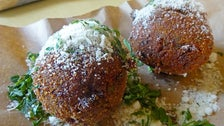 Rice balls at Little Dom's