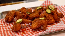 Batter's Box of a dozen fried chicken wings at Howlin' Ray's