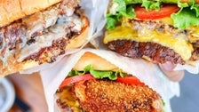 Roadside Double, ShackBurger and Shack Stack at Shake Shack West Hollywood