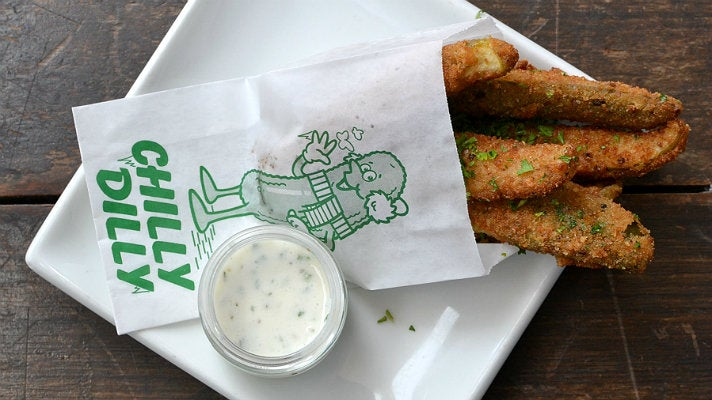 Fried pickles at The Fat Dog