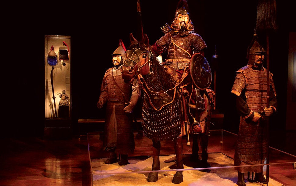 "Mongolian armored warrior and horse from ""Genghis Khan"" at the Reagan Library"